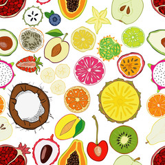 Seamless pattern with exotic fresh fruits.