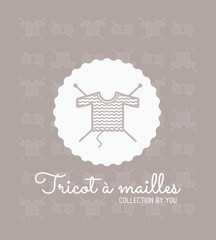 Tricot, loisirs, tricoter, passe-temps, laine, pelote, logo