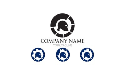 Geek Spartan Logo Set Company Designs
