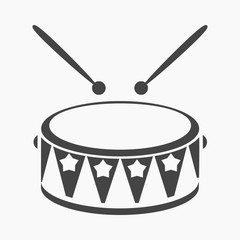 Drum black icon. Illustration for web and mobile design.
