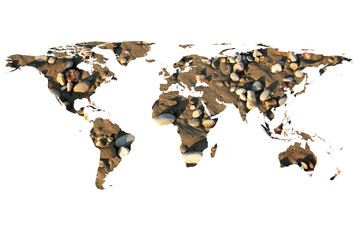 world map and stones