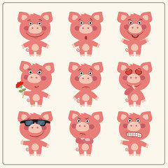 Vector set isolated emotion pig. Collection cute pig in cartoon style.