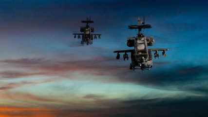 Military gunships flying with dramatic sky