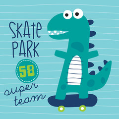 cool skater dinosaur character vector illustration