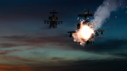 Military gunships being hit by missile and exploding