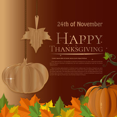 Design for Thanksgiving Day (USA). November 24th. Autumn background with maple leaves and pumpkin. Happy Thanksgiving. Vector illustration