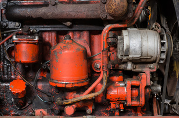 detail of old tractor motor parts