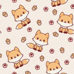 Kawaii fox seamless wallpaper. Vector pattern.