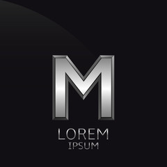 Silver M Letter emblem