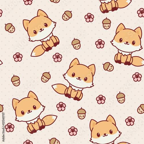 Cute Kawaii Kawaii Fox Seamless Wallpaper Vector Pattern Fotolia Kawaii Fox Seamless Wallpaper Vector Pattern