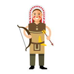 Vector Indian with bow and arrow. Flat style colorful Cartoon illustration.