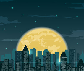 Night cityscape silhouettes with moon . Vector