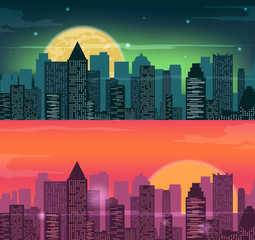 Night and evening city landscape. Skyline with skyscrapers. Flat city. Vector