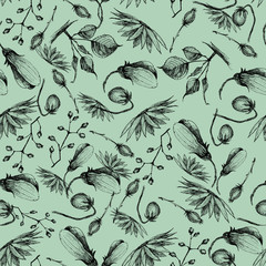 Vintage seamless pattern with floral and vegetable uzrom, executed in black and white hand-made graphics, liner.
