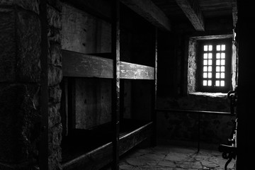 Dark interior castle room in black and white