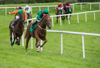 Jockeys and race horses galloping around the track during a race