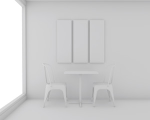 Mock up white frame for advertising at the dining room, 3D render and white isolated