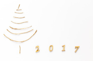 Simple christmas tree on white - original new year card