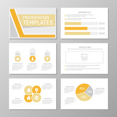 Set of orange and gray template for multipurpose presentation slides with graphs and charts. Leaflet, annual report, book cover design.