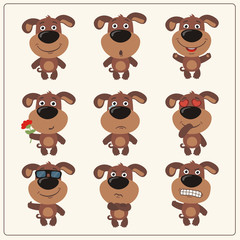 Vector set isolated emotion puppy dog. Collection cute puppy dog in cartoon style.