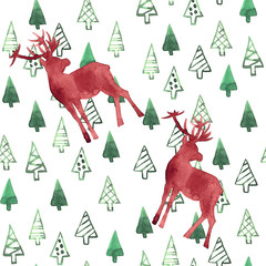 Green Christmas trees and red deer on a white background. Waterc