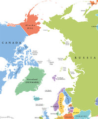 Arctic region single states and North Pole political map. Nations in different colors, with national borders and country names. Arctic ocean without sea ice. English labeling and scaling. Illustration