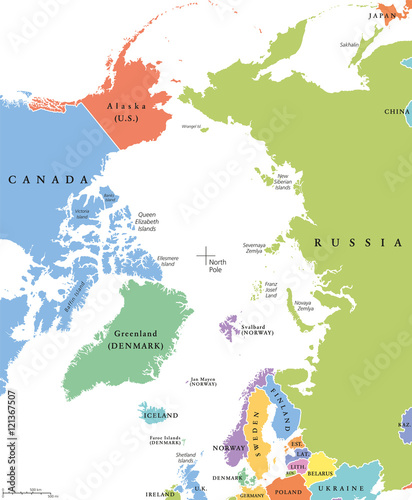 Arctic region single states and North Pole political map. Nations in ...