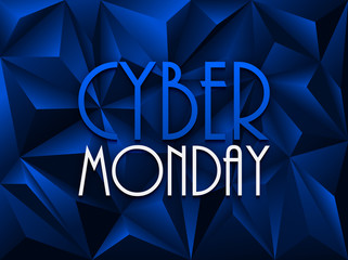 """CYBER MONDAY"" on blue vector polygon background"