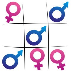 Gender fight - winning man - female and male symbols playing tic tac toe.