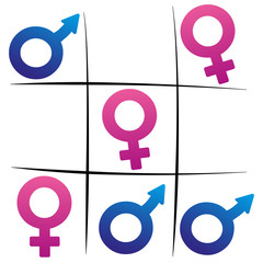 Gender fight - winning woman - female and male symbols playing tic tac toe.