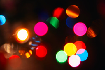 Colorful blurred lights, bokeh photo