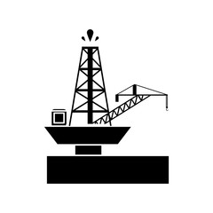 Oil tower and crane icon. Factory and industry theme. Isolated design. Vector illustration