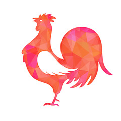 Bright red polygon illustration of a rooster isolated on white background. Happy Chinese New Year cards. Perfect for decoration designs festive banners, postcards, posters.