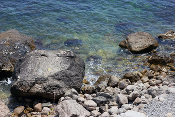 beautiful picturesque wild Black sea coast with boulders and roc