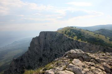 beautiful panoramic view from top of crimean mountain peak Ai-Pe