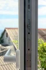 steel mechanism of white plastic window sash of plastic profile