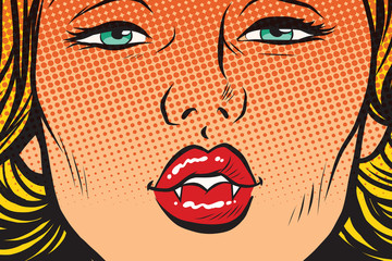 Vampire girl lip kiss