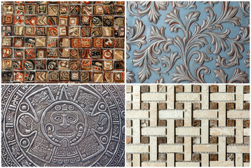 ceramic tile texture mosaic, ornament, pattern - design wall