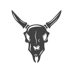 Bulls scull. Black icon, logo element, vector illustration isolated on white background