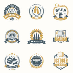 Beer Festival Octoberfest celebrations. Set of retro vintage beer badges, labels, emblems. Vector design elements
