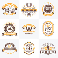 Beer Festival Octoberfest celebrations. Set of retro vintage bee