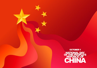 Vector greeting card for National Day of the People's Republic of China, October 1. Red flag and gold stars.