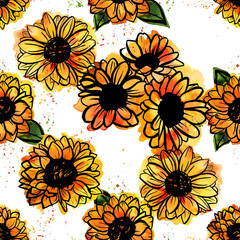Seamless pattern of freehand vector and watercolor sunflowers