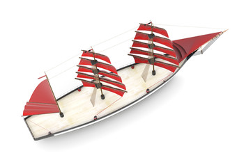 Sailboat top view on a white background. 3d rendering