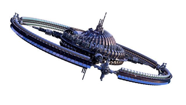 3D illustration of an alien spaceship or futuristic space station, with a central dome and gravitation wheel, for science fiction 