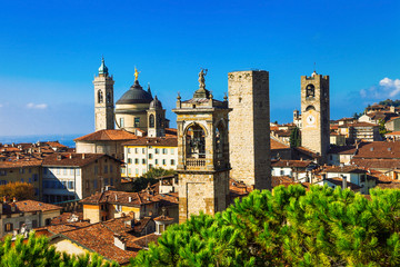 Towers of Bergamo - beautiful medieval town in noth of Italy Wall mural
