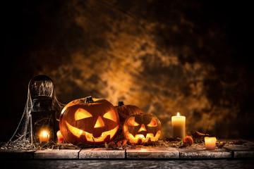 Halloween Pumpkins still-life background.
