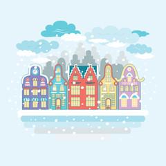 Christmas time. Urban and Village landscapes. Winter city landscape.