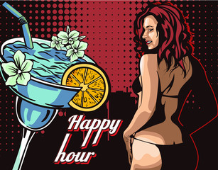 Woman in bikini, stripper with happy hour cocktail vector