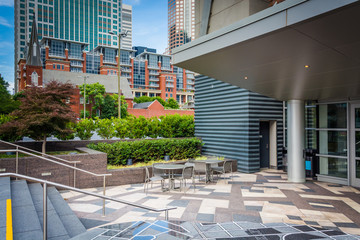 Courtyard and modern buildings in Uptown Charlotte, North Caroli